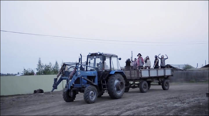 All the team on the tractor