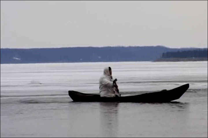 Man on the boat on Yenisey